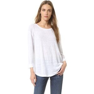 Vince White Draped Rolled Sleeve Linen Tee
